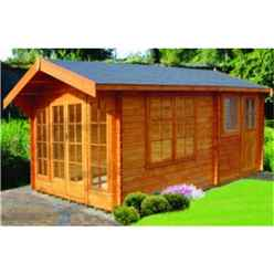 3.59m x 5.09m Log Cabin with 2 Rooms - 28mm Wall Thickness