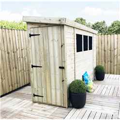 14FT x 3FT Reverse Pressure Treated Tongue & Groove Pent Shed + 3 Windows And Single Door + Safety Toughened Glass