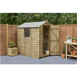 6ft x 4ft Pressure Treated Overlap Apex Wooden Garden Shed with Single Door - Installed