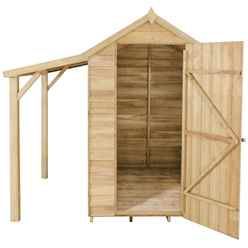 6ft x 4ft Pressure Treated Overlap Apex Shed with Lean To - Installed