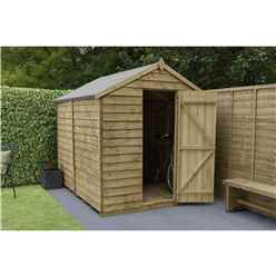 8ft x 6ft Pressure Treated Windowless Overlap Apex Wooden Garden Shed - Installed