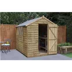 8ft x 6ft Pressure Treated Overlap Apex Wooden Garden Shed with Single Door - Installed