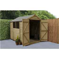 INSTALLED 8ft x 6ft Pressure Treated Overlap Apex Wooden Garden Shed with Double Doors (2.4m x 1.9m) - INCLUDES INSTALLATION