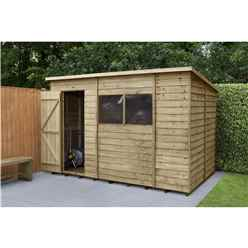 INSTALLED 6ft x 10ft (1.9m x 3.1m) Pressure Treated Overlap Pent Shed With Single Door and 2 Windows