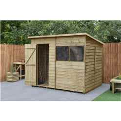 6ft x 8ft Pressure Treated Overlap Pent Shed - Installed