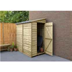 INSTALLED 6ft x 3ft (1.8m x 1.1m) Windowless Pressure Treated Overlap Pent Shed With Single Side Door