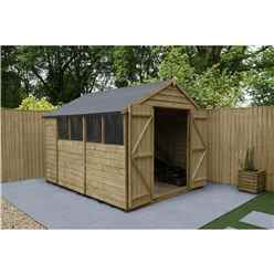 10ft x 8ft Pressure Treated Overlap Apex Shed with Double Doors and 4 Windows - Installed