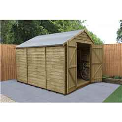 10ft x 8ft Pressure Treated Windowless Overlap Apex Shed with Double Doors - Installed