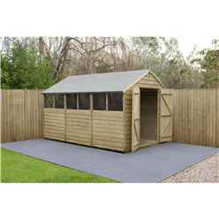 12ft x 8ft Pressure Treated Overlap Apex Shed with Double Doors + 6 Windows - Installed