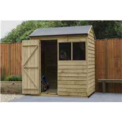 4ft x 6ft Overlap Pressure Treated Reverse Apex Shed - Installed