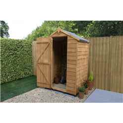 INSTALLED 3ft x 4ft (0.9m x 1.3m) Windowless Overlap Apex Shed With Single Door