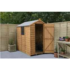 6ft x 4ft Single Door Overlap Apex Wooden Garden Shed + Window - Installed