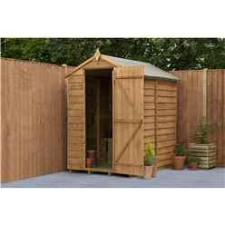 INSTALLED 6ft x 4ft (1.8m x 1.3m) Overlap Apex Security Shed With Single Door