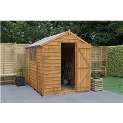 8ft x 6ft Single Door Overlap Apex Wooden Garden Shed + 2 Windows - Installed