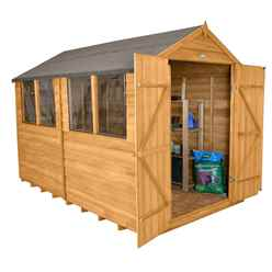 INSTALLED 10ft x 8ft (3.1m x 2.6m) Double Door Overlap Apex Wooden Garden Shed With Double Doors and 4 Windows