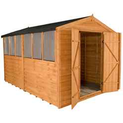 INSTALLED 12ft x 8ft (3.7m x 2.6m) Double Door Overlap Apex Wooden Garden Shed With Double Doors and 6 Windows
