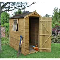 6ft x 4ft Pressure Treated Tongue and Groove Apex Wooden Shed - Installed