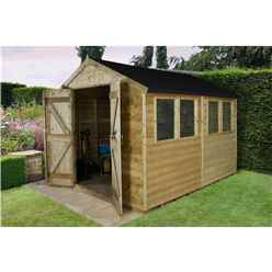 INSTALLED 10ft x 8ft (3.10m x 2.63m) Pressure Treated Tongue and Groove Apex Wooden Shed With Double Doors and 4 Windows