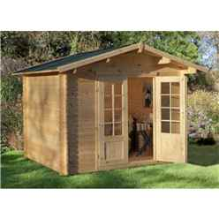 2.2m x 2.2m Compact Log Cabin with Double Doors (28mm Wall Thickness) - Installed **Includes Free Shingles**