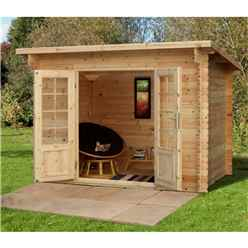 3.0m x 2.0m Compact Log Cabin with Double Doors (28mm Wall Thickness) - Installed **Includes Free Shingles**