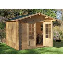3m x 2.5m Compact Log Cabin with Double Doors (28mm Wall Thickness) - Installed **Includes Free Shingles**