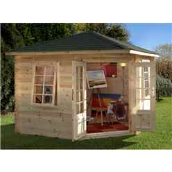 3m x 3m Corner Log Cabin with Double Doors and 2 Windows (28mm Wall Thickness) - Installed **Includes Free Shingles**