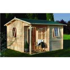 3.6m x 3.6m Log Cabin with Integrated Porch and Double Doors (28mm Wall Thickness) - Installed **Includes Free Shingles**