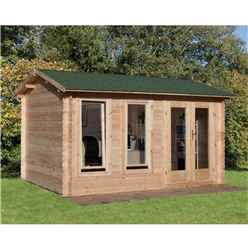 4m x 3m Log Cabin with Double Glazing and Reverse Apex Roof (34mm Wall Thickness) **Includes Free Shingles**