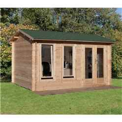 4m x 3m Log Cabin with Double Glazing and Reverse Apex Roof (34mm Wall Thickness) - Installed **Includes Free Shingles**