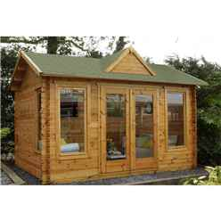 4m x 3m Log Cabin with a Dormer Roof Feature and Large Front Windows (34mm Wall Thickness) **Includes Free Shingles**