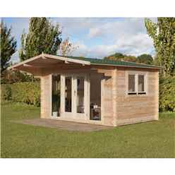 4m x 3m Log Cabin with Overhang and Large Front Windows (34mm Wall Thickness) - Installed **Includes Free Shingles**