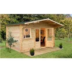 4m x 4m Log Cabin with Double Glazed Doors and Windows (34mm Wall Thickness) **Includes Free Shingles**