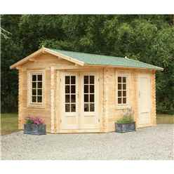 4m x 2.8m Corner Log Cabin with Separate Storage Area (Door on Left) (34mm Wall Thickness) **Includes Free Shingles**