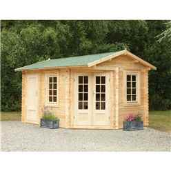 4m x 2.8m Corner Log Cabin with Separate Storage Area (Door on Right) (34mm Wall Thickness) **Includes Free Shingles**
