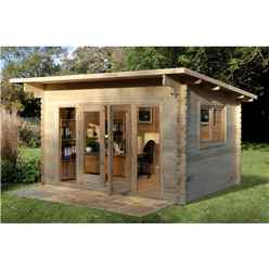 4m x 3m Log Cabin with a Pent Roof and Large Front Windows (44mm Wall Thickness) - Installed **Includes Free Shingles**