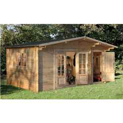 4.5m x 3.5m Log Cabin with Integrated Storage Shed and Overhang (34mm Wall Thickness) **Includes Free Shingles**