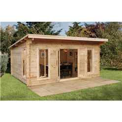 5m x 4m Log Cabin with a Pent Roof and Full Length Double Glazed Windows (44mm Wall Thickness) **Includes Free Shingles**