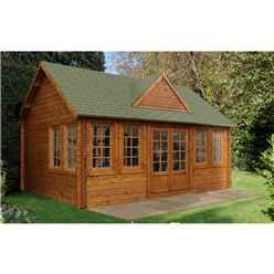 5.5m x 4m Log Cabin with 8 Double Glazed Windows (44mm Wall Thickness) - Installed **Includes Free Shingles**