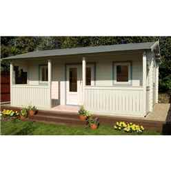 5m x 4m Log Cabin with Integral Veranda and Double Glazing (44mm Wall Thickness) - Installed **Includes Free Shingles**
