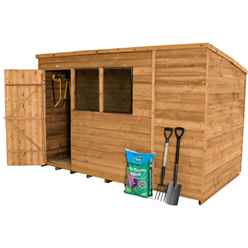 INSTALLED 10ft x 6ft (3.1m x 1.9m) Dip Treated Overlap Pent Shed With Single Door and 2 Windows