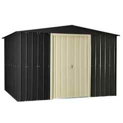 10ft x 12ft Slate Grey Apex Metal Shed (2.95m x 3.61m)