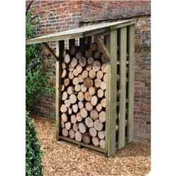 3.7ft x 3.8ft (115cm x 117cm) Small Pressure Treated Log Store - With Folding Roof