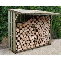 7ft x 3.8ft (212cm x 117cm) Large Pressure Treated Log Store - With Folding Roof