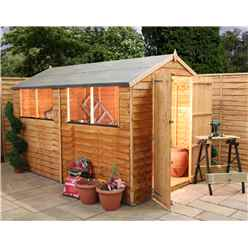 INSTALLED 10ft x 6ft Super Saver Overlap Apex Shed With Double Doors + 4 Windows (10mm Solid OSB Floor) - INCLUDES INSTALLATION
