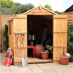 INSTALLED 8ft x 8ft (2.41m x 2.48m) Super Saver Overlap Apex Shed With Double Doors + 2 Windows (Solid 10mm OSB Floor) - INCLUDES INSTALLATION