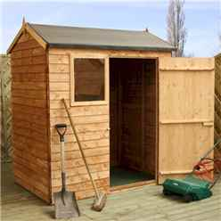 INSTALLED 4ft x 6ft Reverse Overlap Apex Shed With Single Door + 1 Window (10mm Solid OSB Floor) - INCLUDES INSTALLATION