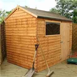 INSTALLED 6ft x 8ft (1.83m x 2.43m) Reverse Overlap Apex Shed With Single Door + 1 Window (10mm Solid OSB Floor) - INCLUDES INSTALLATION