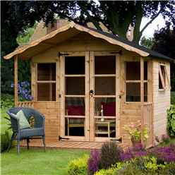 INSTALLED 8ft x 8ft (2.44m x 2.54m) Wessex Summerhouse (12mm T&G Floor & Roof) - INCLUDES INSTALLATION