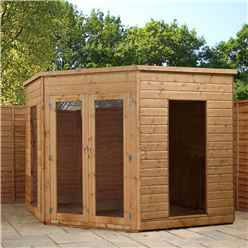 INSTALLED 8ft x 8ft (2.42m x 2.42m) Premier Solis Corner Summerhouse (12mm T&G Floor & Roof) - INCLUDES INSTALLATION