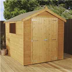 INSTALLED 8ft x 6ft (2.4m x 1.8m) Premier Tongue & Groove Apex Shed With Double Doors + 1 Window (12mm T&G Floor) - INCLUDES INSTALLATION